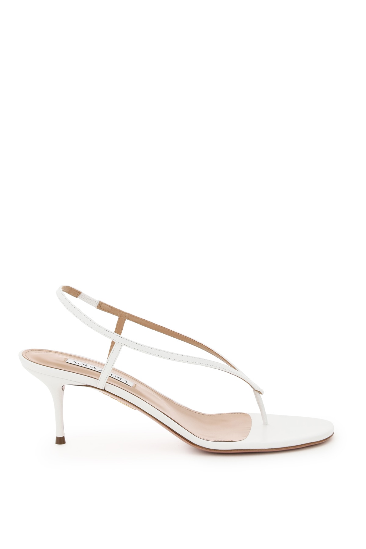 AQUAZZURA DIVINA THONG SANDALS 39 White Leather