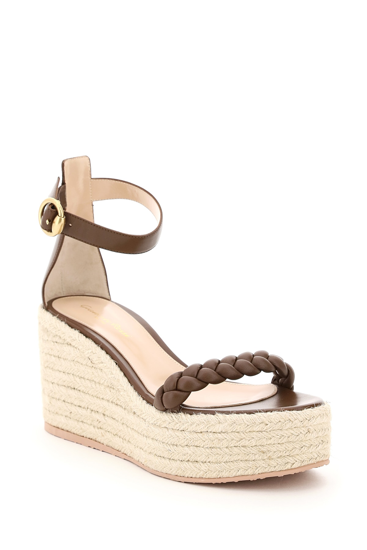 GIANVITO ROSSI Leathers LEATHER SANDALS WITH ROPE PLATFORM