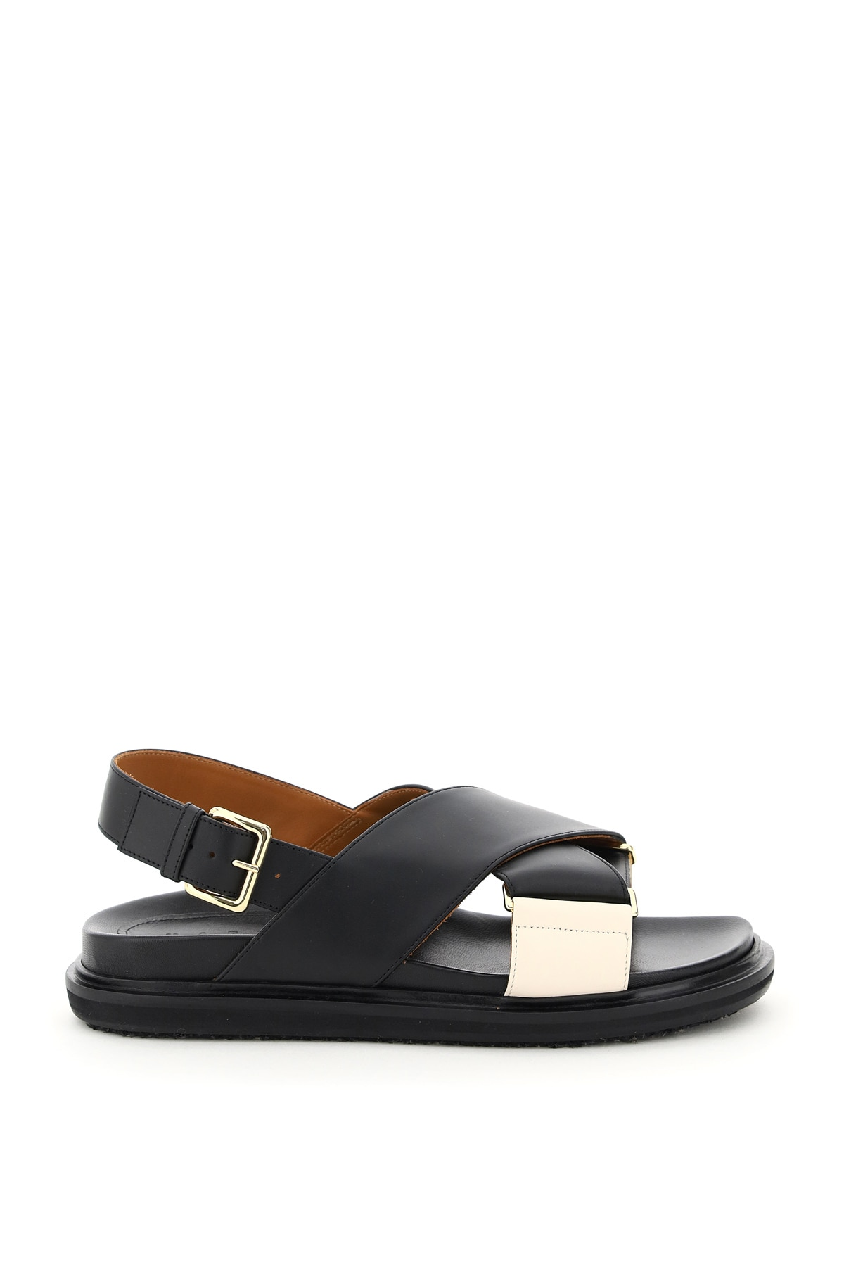 MARNI FUSSBETT LEATHER SANDALS 37 Black, White Leather