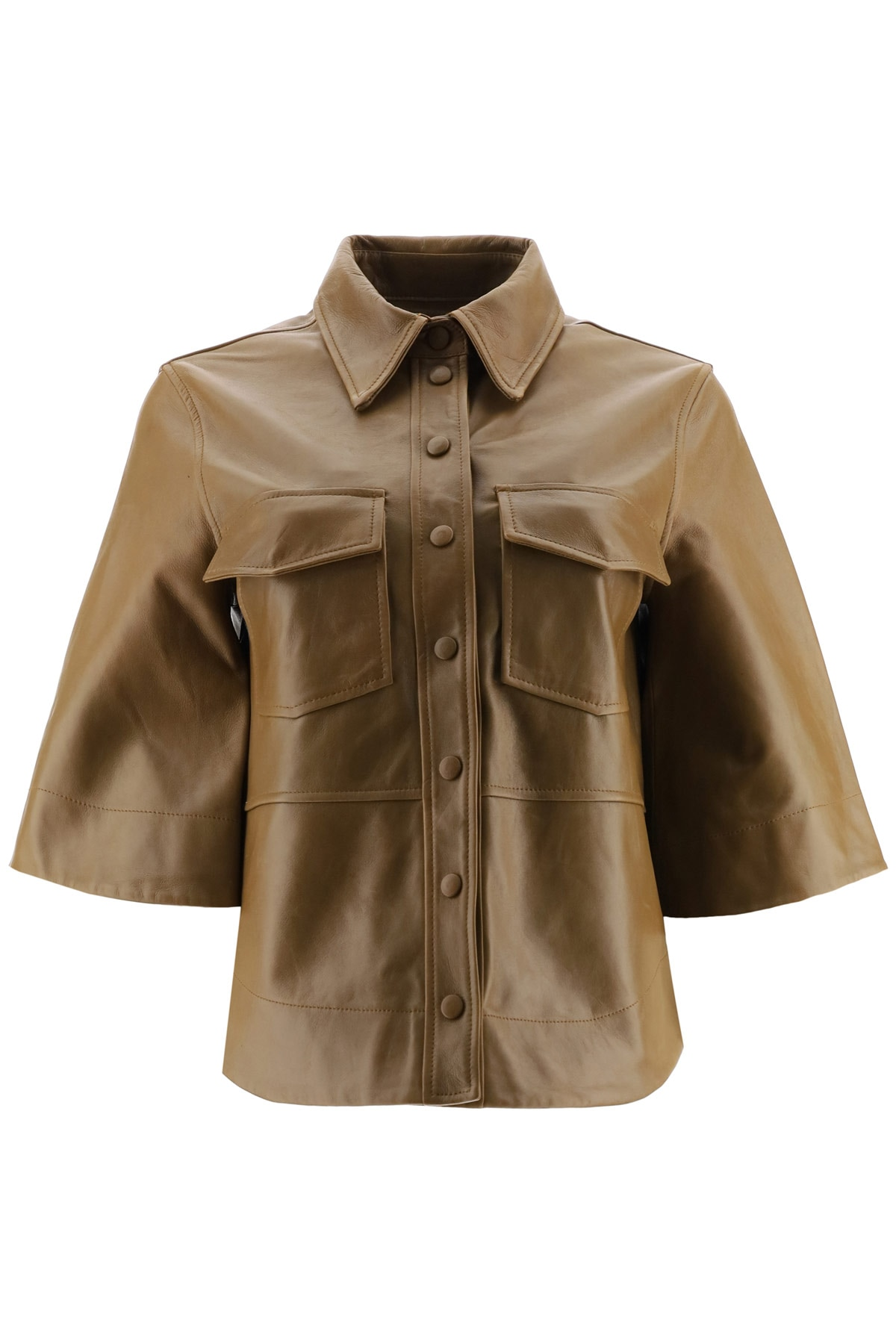 Ganni Leather Shirt 34 Brown Leather