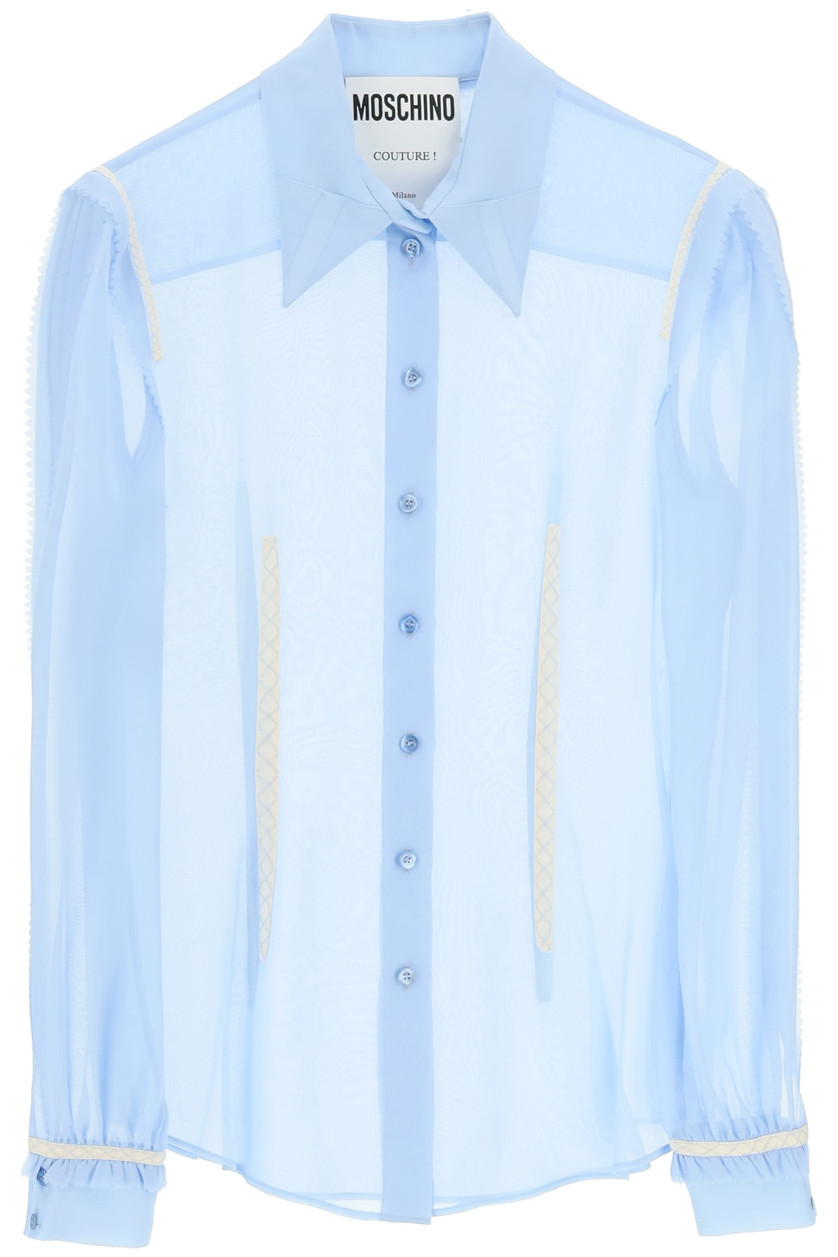 MOSCHINO GEORGETTE SILK SHIRT WITH EMBROIDERIES 40 Light blue, White Silk