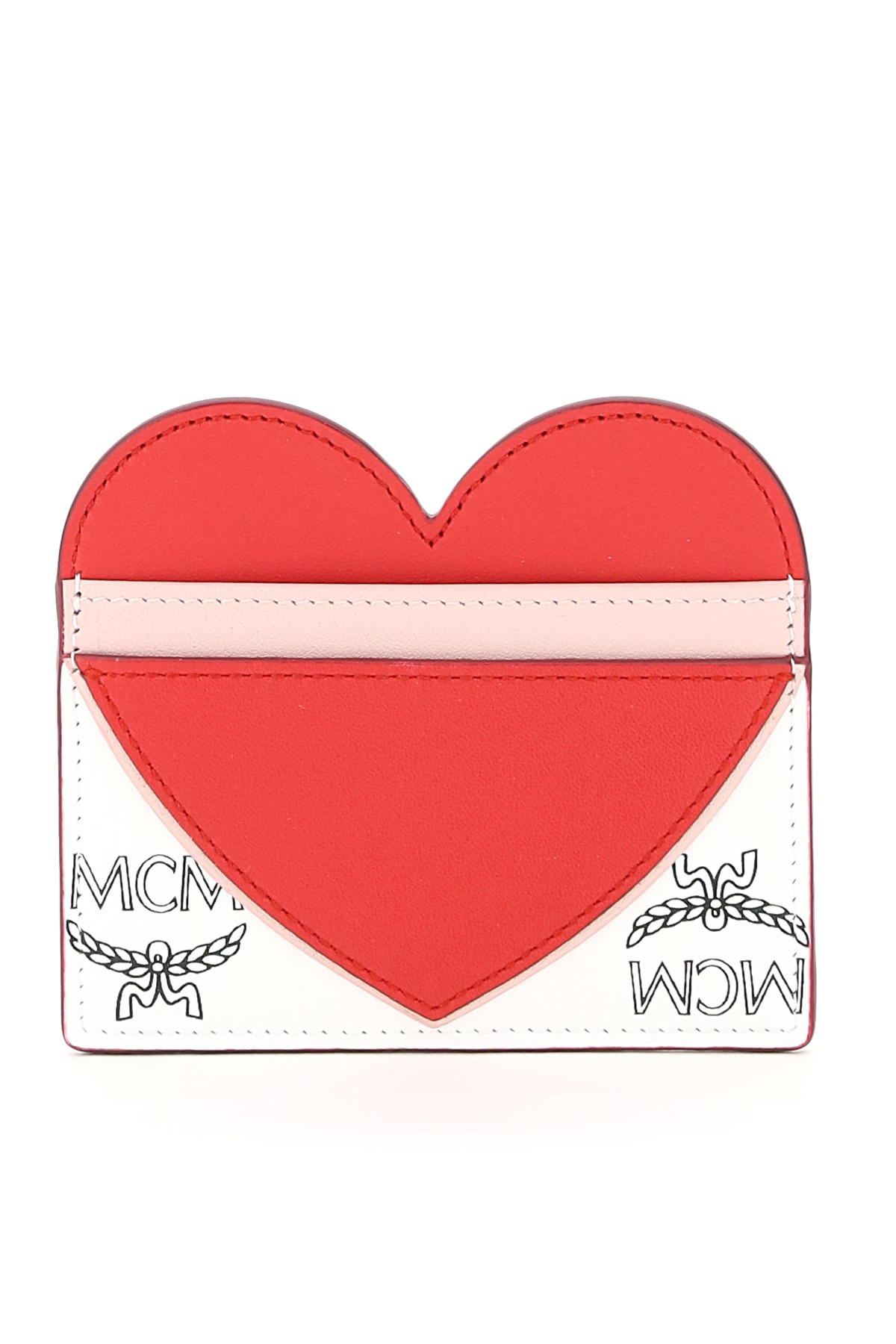 MCM VISETOS CARD HOLDER WITH HEART OS Red, White, Black Leather