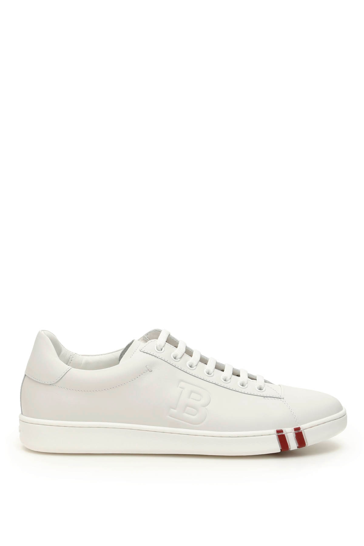 BALLY ASHER LEATHER SNEAKERS 10 White, Red Leather