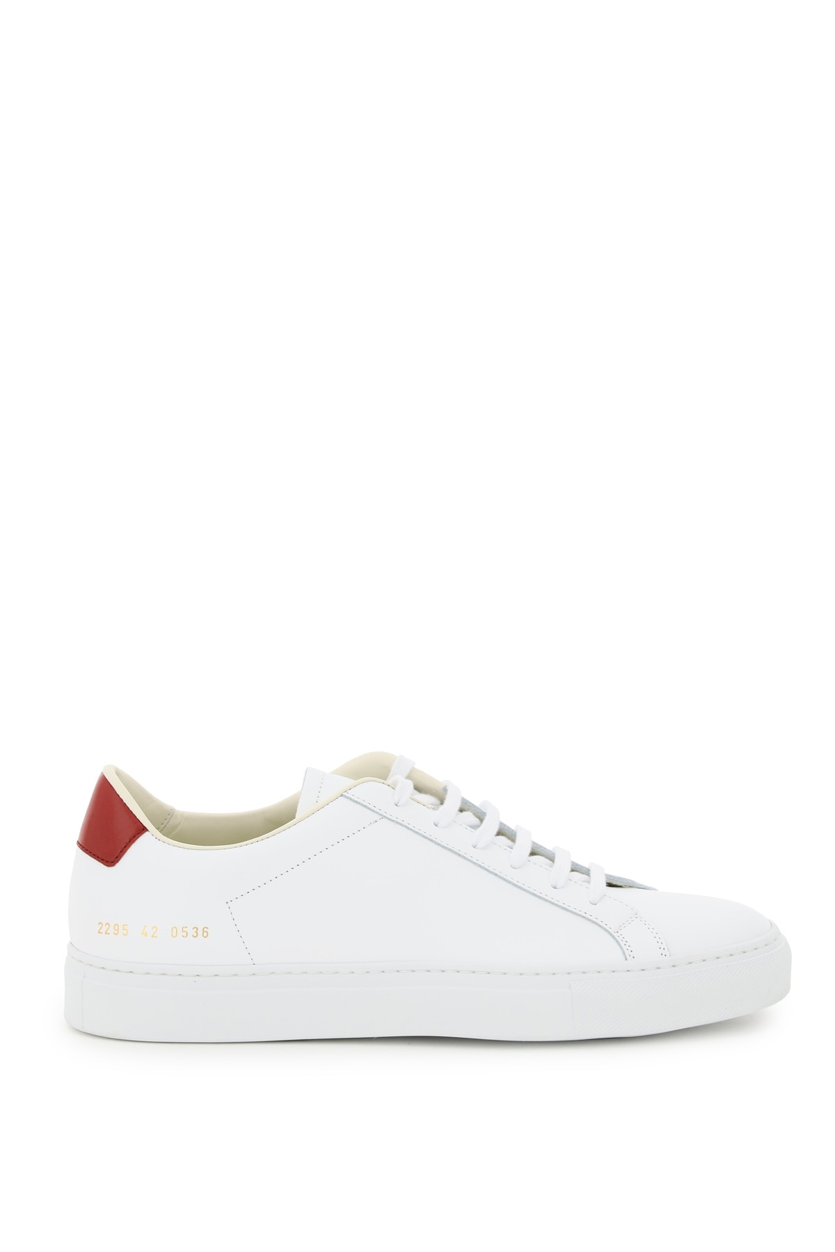 COMMON PROJECTS RETRO LOW LEATHER SNEAKERS 43 White, Red Leather