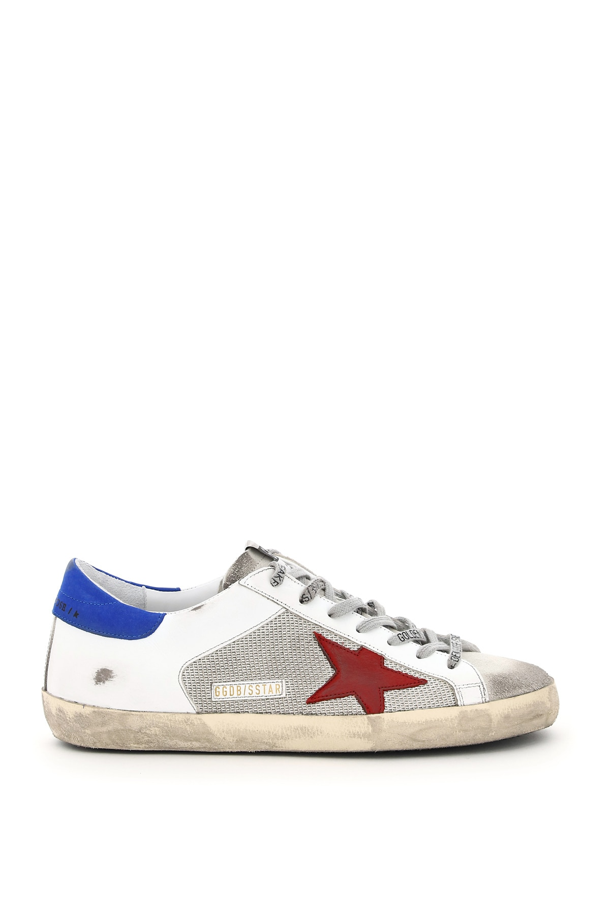 GOLDEN GOOSE SUPER-STAR DOUBLE QUARTER LEATHER AND MESH SNEAKERS 42 White, Blue, Red Leather, Techni