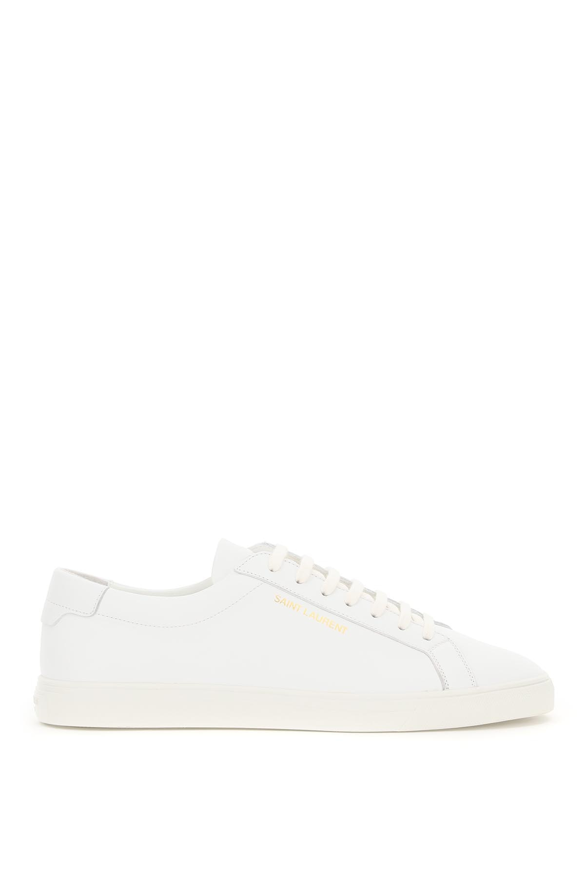 SAINT LAURENT ANTDY LEATHER SNEAKERS 41 White Leather