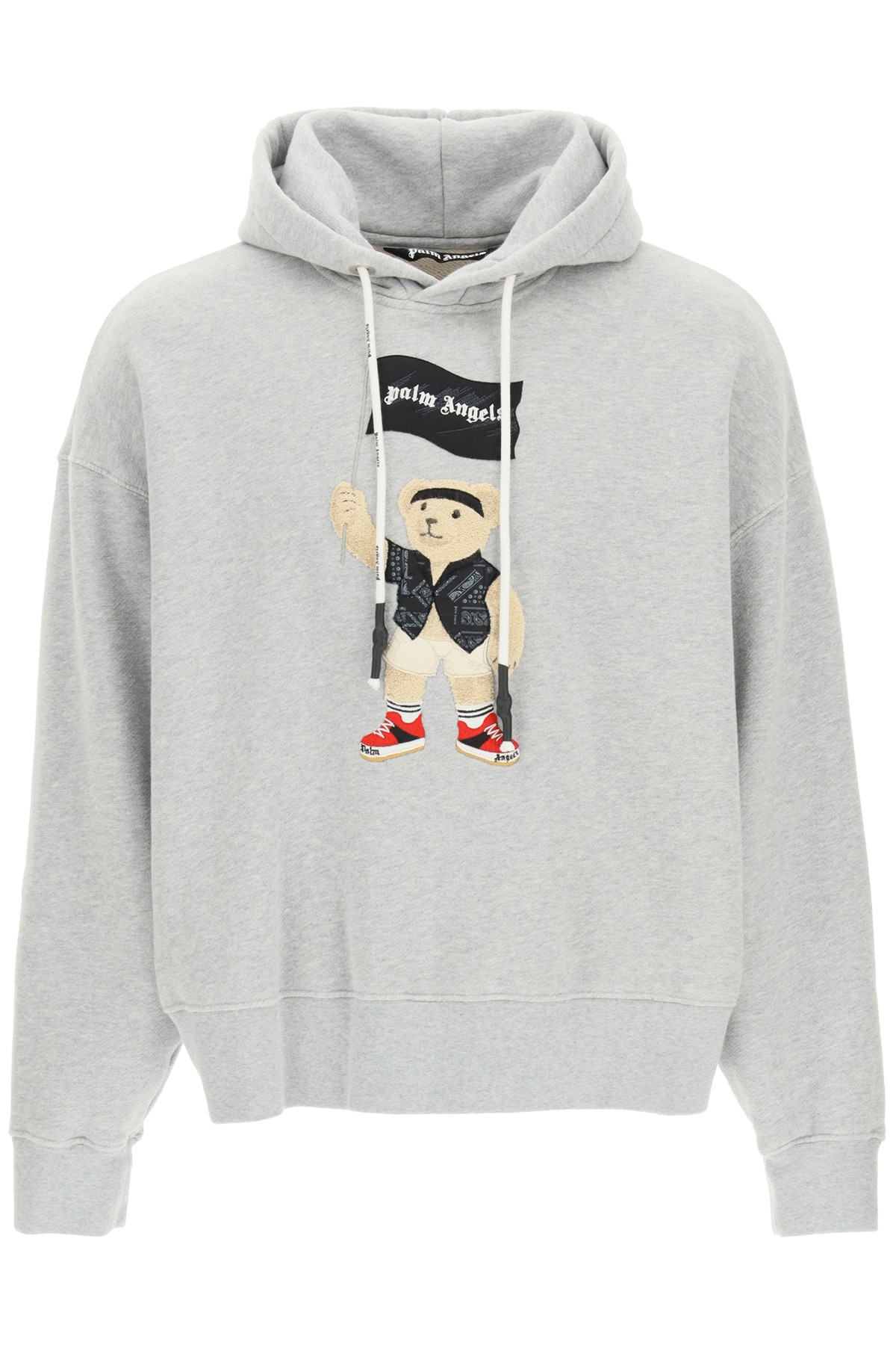 PALM ANGELS PIRATE BEAR PATCH HOODIE L Grey Cotton