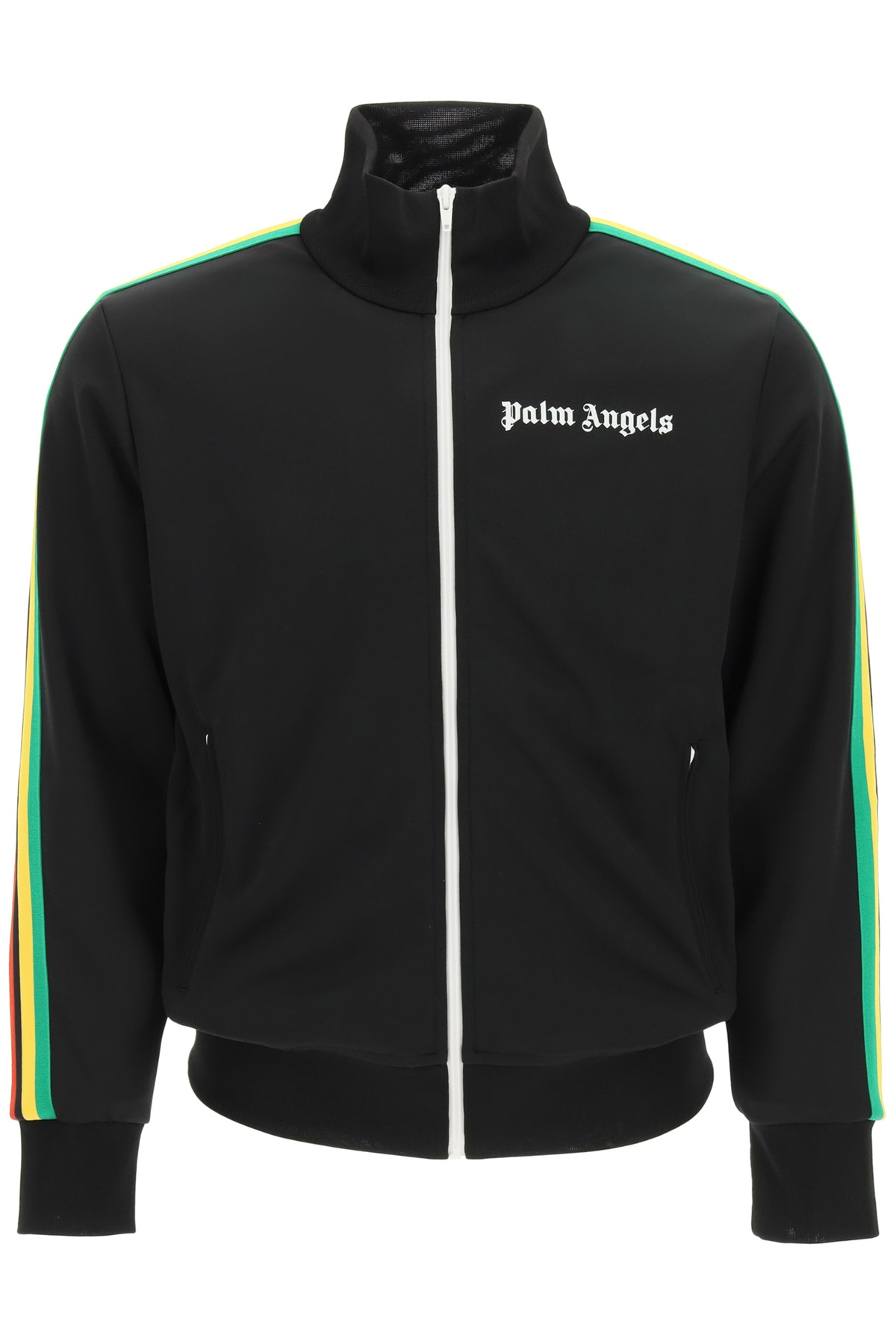 PALM ANGELS ZIP-UP SWEATSHIRT WITH BANDS S Black Technical