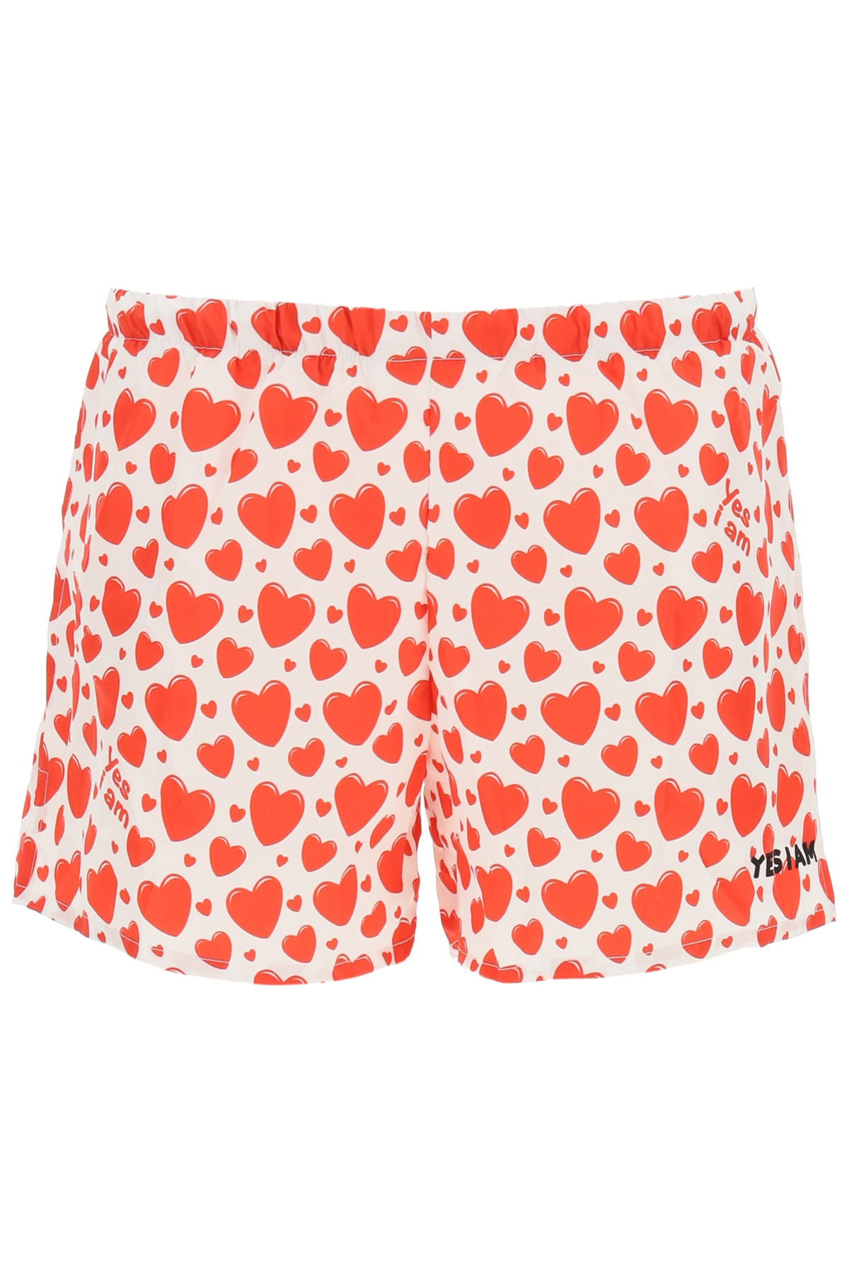 YESIAM RED HEARTS PRINT SWIM SHORTS L White, Red Technical