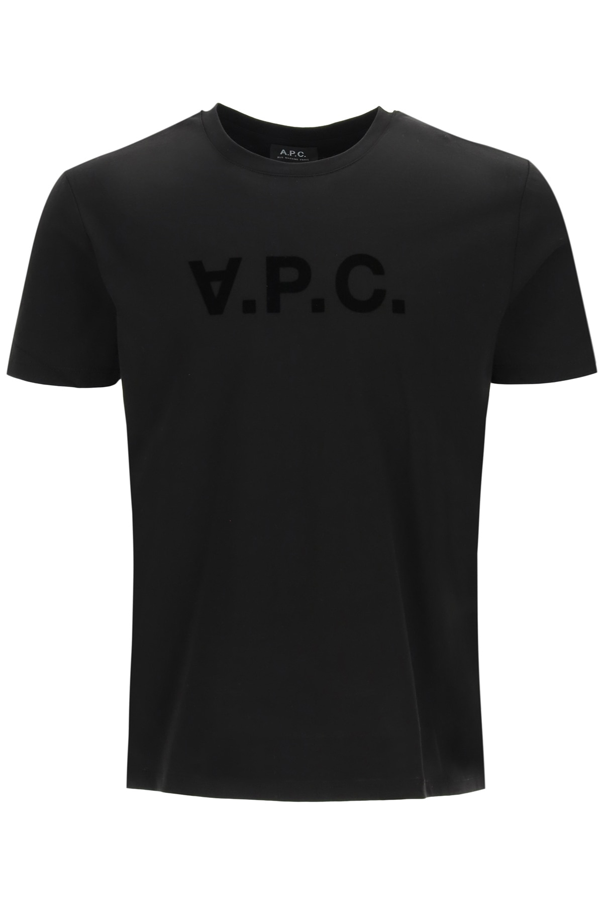 A.P.C. T-SHIRT WITH VPC FLOCK LOGO S Black Cotton