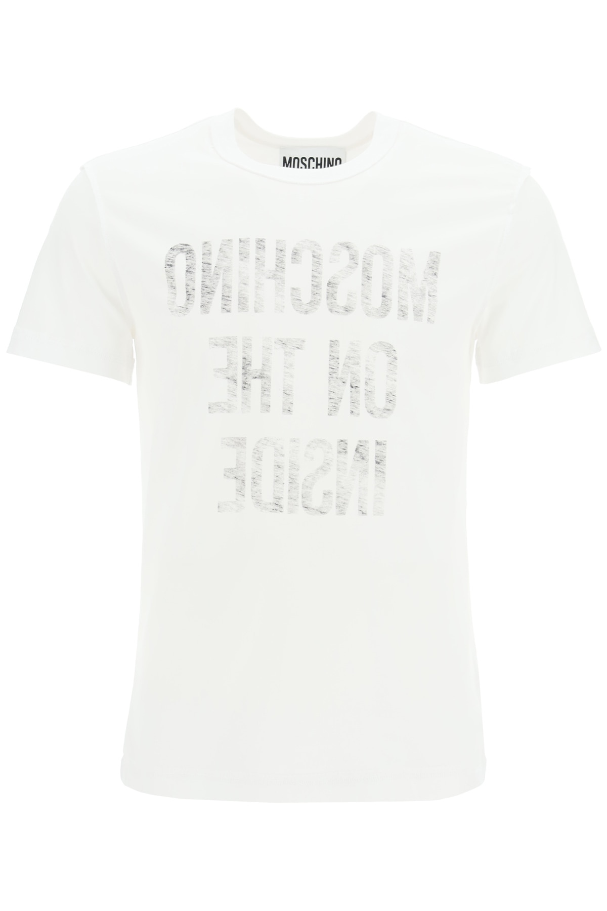 MOSCHINO INSIDE OUT T-SHIRT WITH SLOGAN 50 White, Grey Cotton
