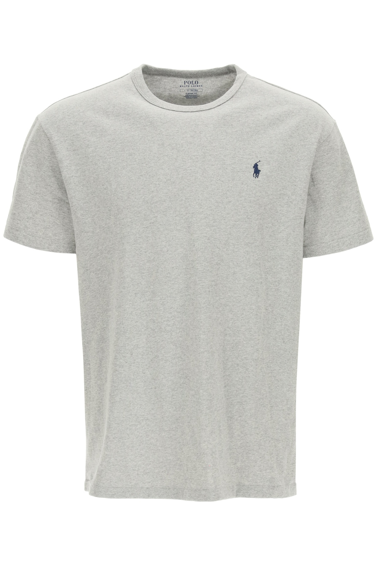 POLO RALPH LAUREN T-SHIRT WITH LOGO EMBROIDERY L Grey, Blue Cotton