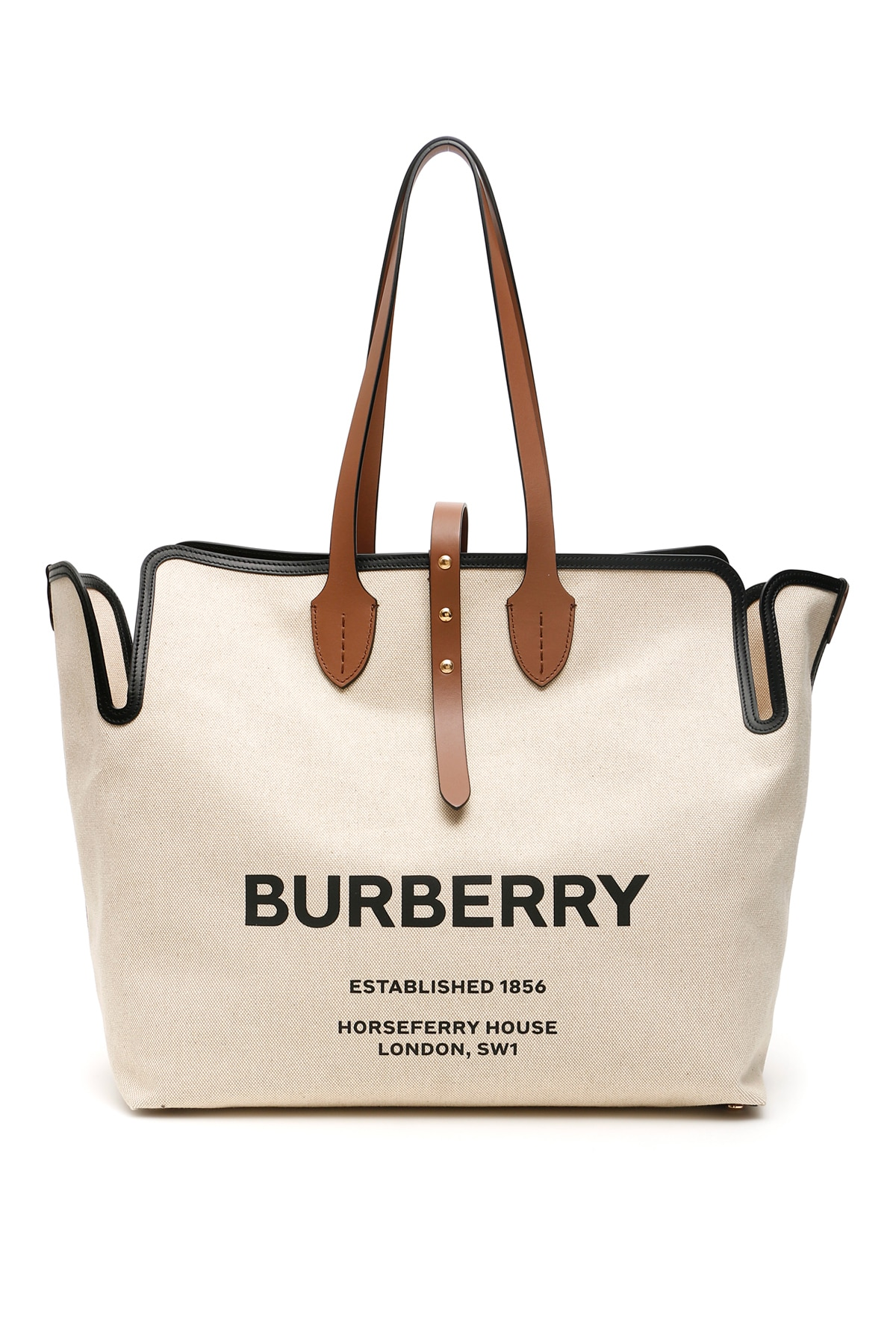 BURBERRY LARGE SOFT BELT TOTE BAG OS Beige Leather, Cotton