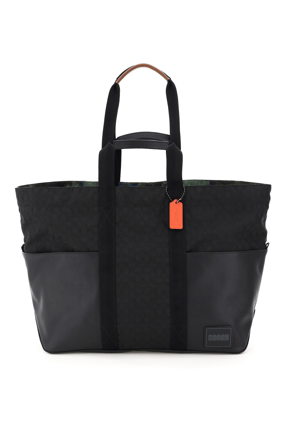 COACH PACER REVERSIBLE SIGNATURE TOTE BAG OS Black Leather, Technical