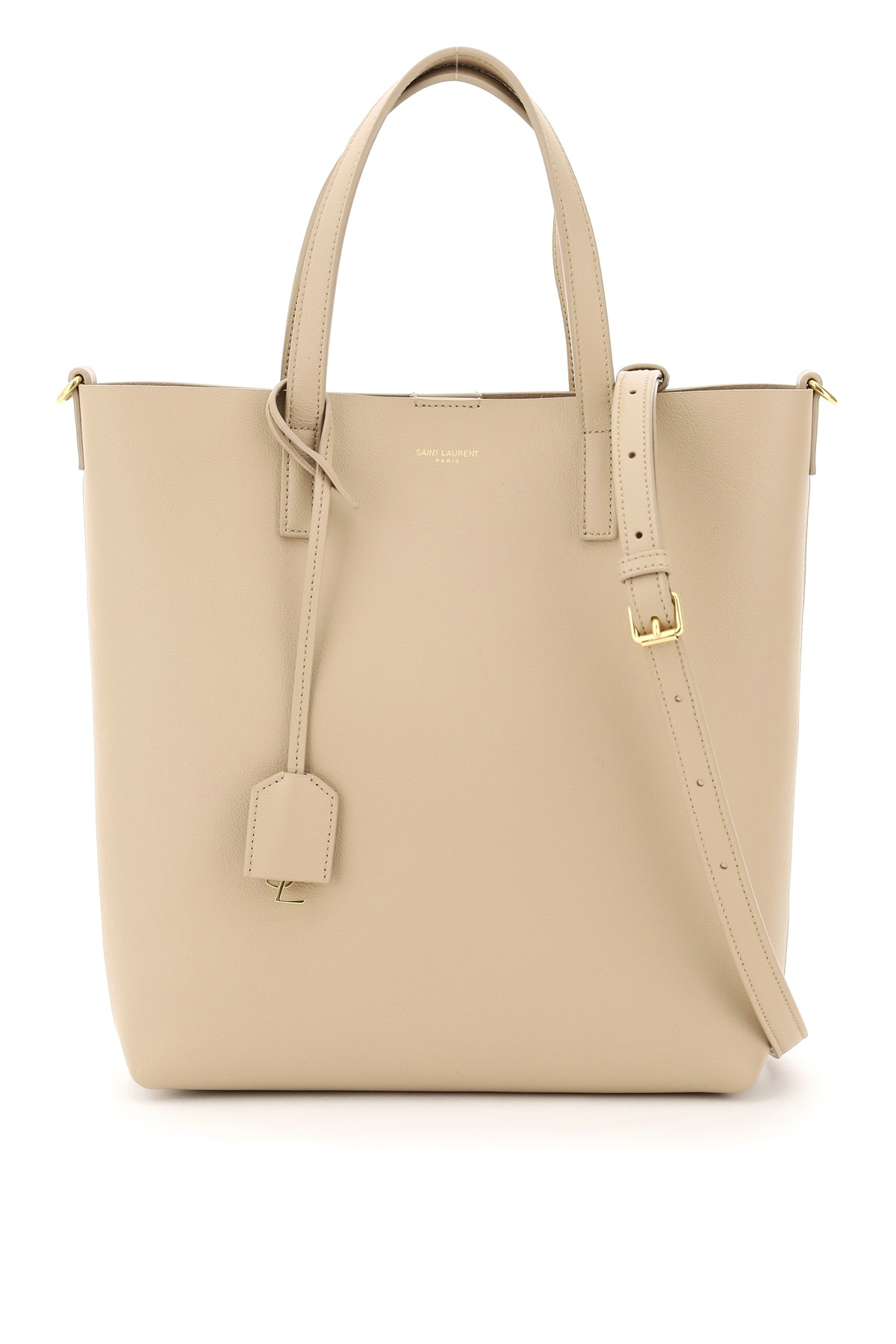 SAINT LAURENT NORTH/SOUTH TOY LEATHER SHOPPING BAG OS Beige Leather