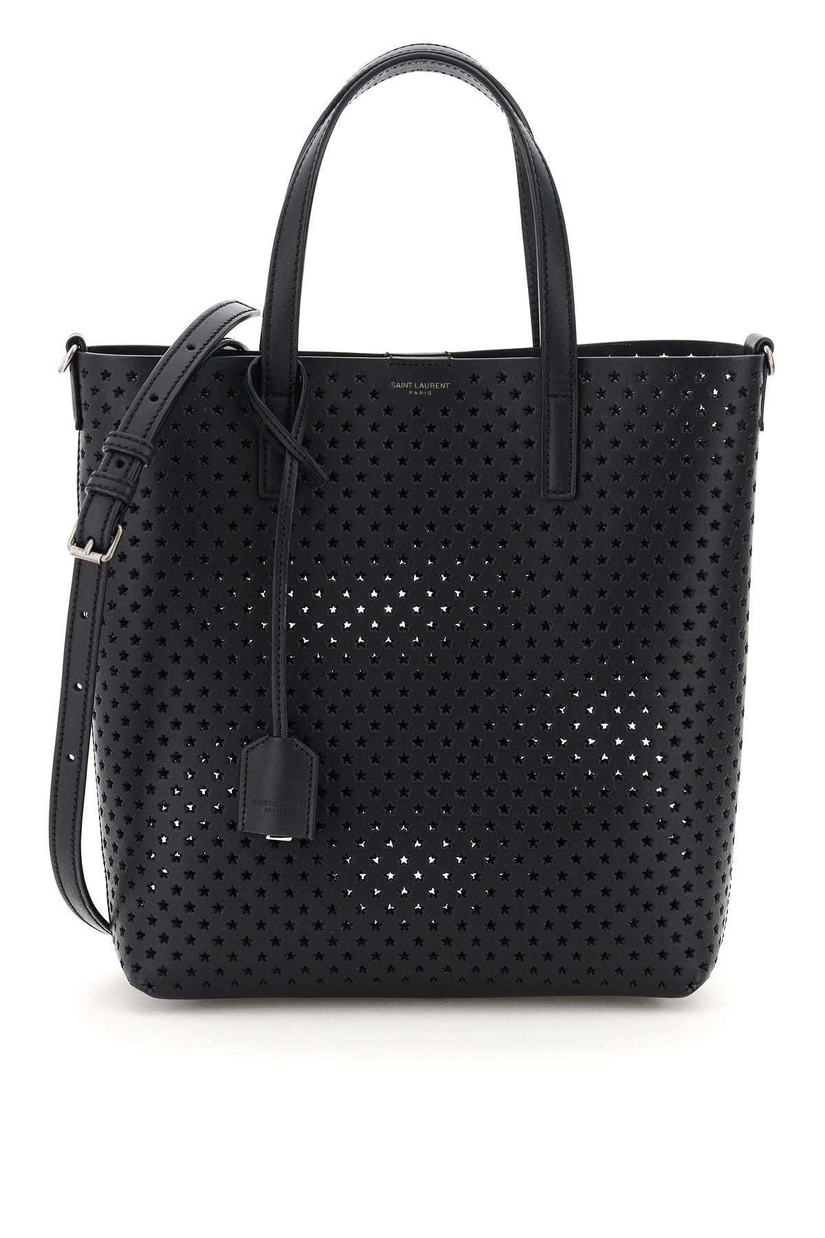 SAINT LAURENT TOY NORTH / SOUTH PERFORATED LEATHER SHOPPING BAG OS Black Leather