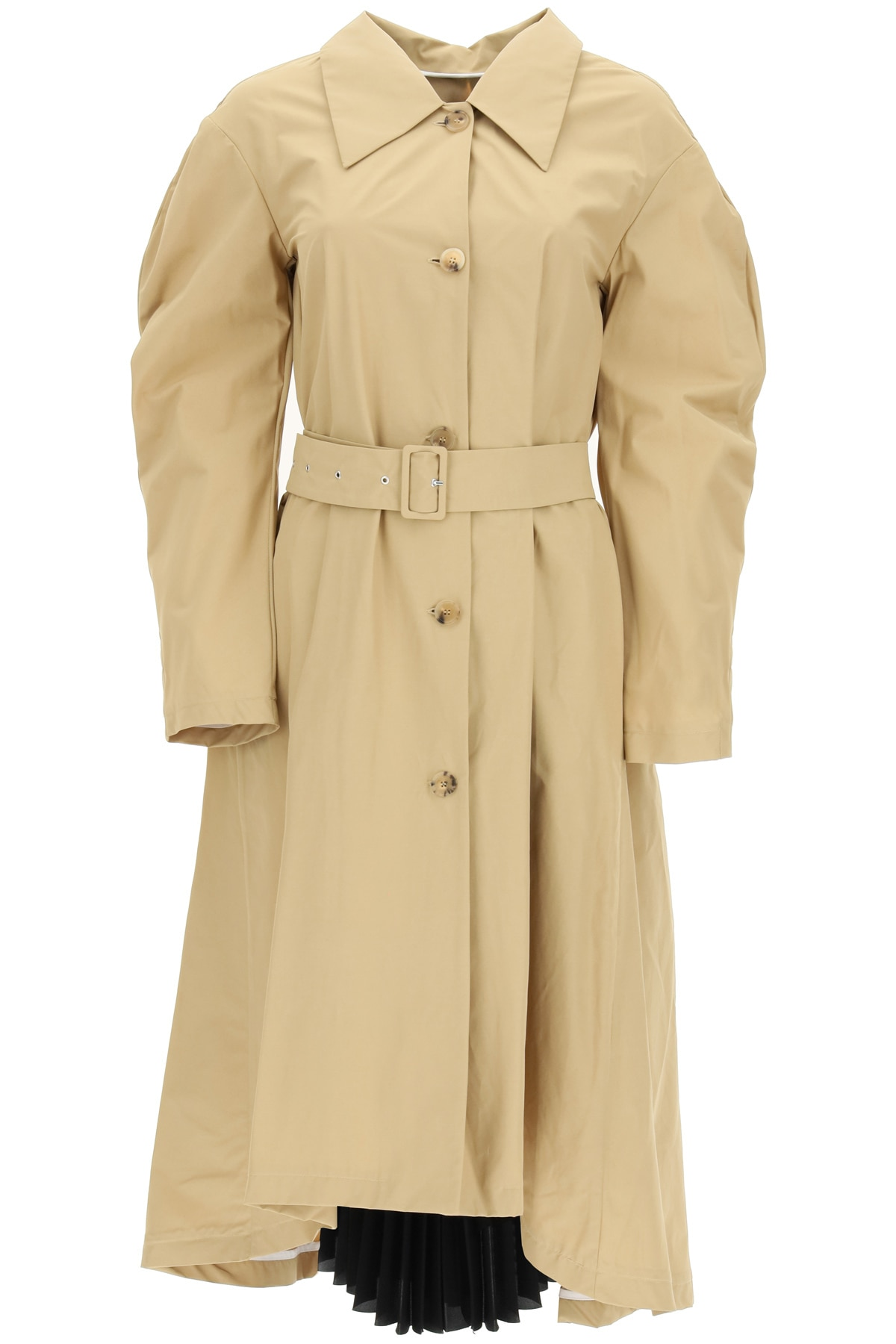 A.W.A.K.E. MODE TRENCH COAT WITH PLEATED INSERT 34 Beige Cotton