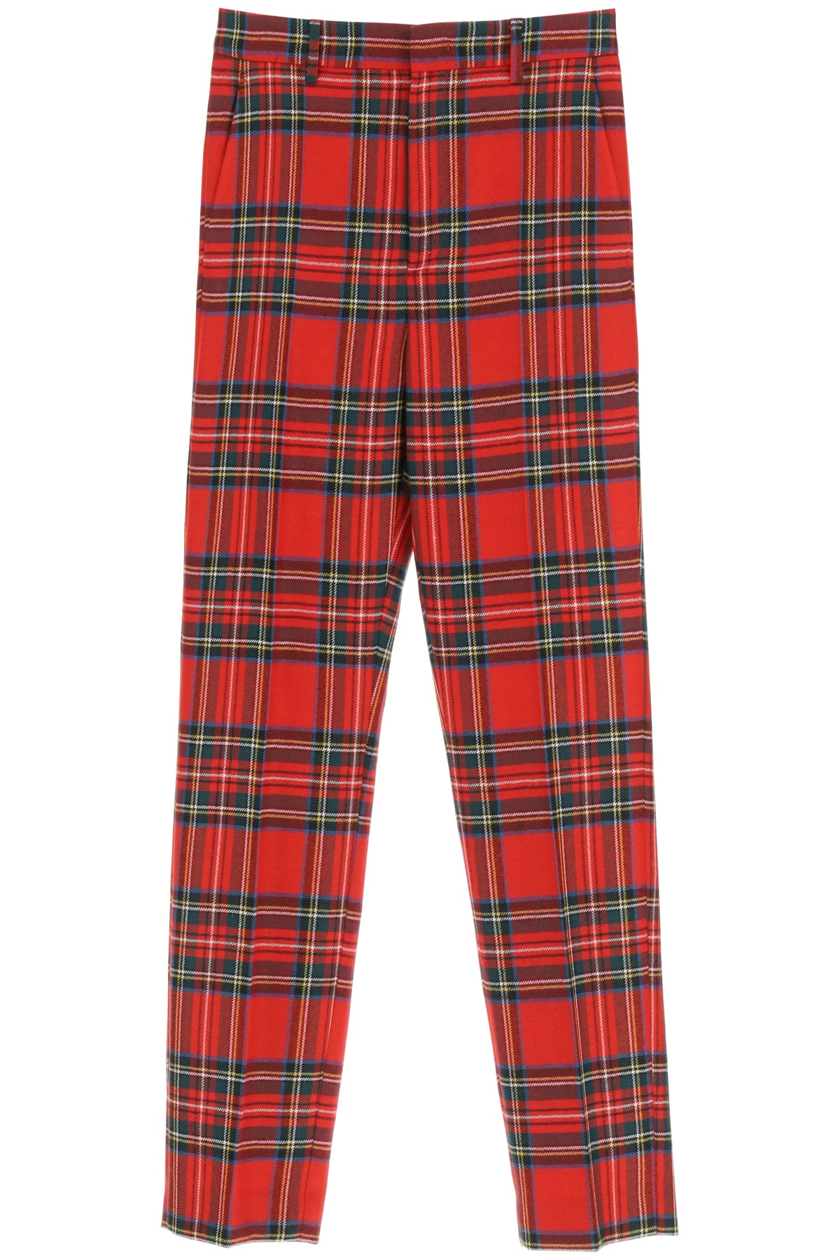 Red Valentino Plaid Wool Trousers 38 Red Wool
