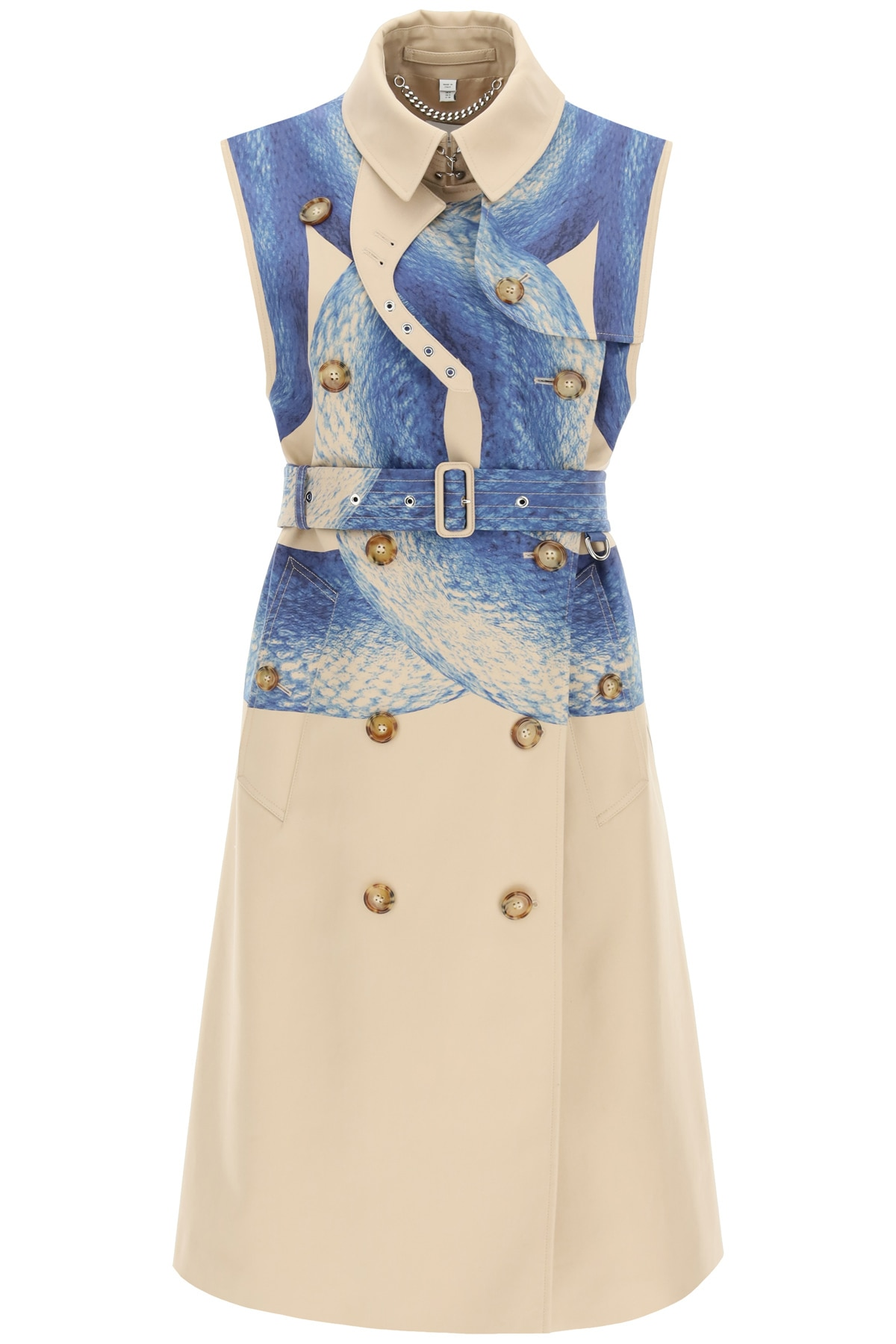 BURBERRY SLEEVELESS TRENCH COAT WITH MERMAID PRINT 4 Beige, Blue Cotton